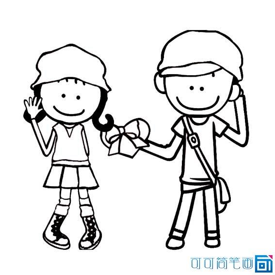 情侣卡通图片简笔画