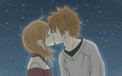 卡通情侣接吻图片