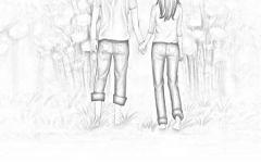 情侣牵手背影图片素描