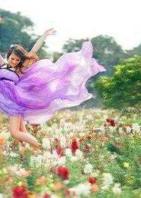 唯美意境女生花朵图片