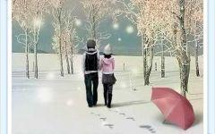 下雪天情侣牵手图片