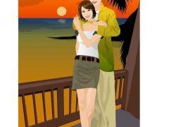 情侣相拥背影卡通图片