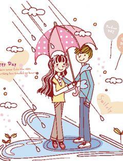 情侣图片打伞卡通图片