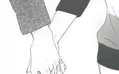 素描情侣牵手背影图片