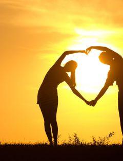 夕阳图片情侣