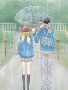 情侣下雨打伞背影图片