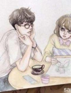 彩铅手绘情侣浪漫图片