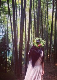 森林唯美意境女生图片