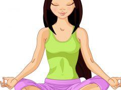 瑜伽打坐唯美图片卡通