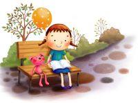 小女孩读书图片唯美