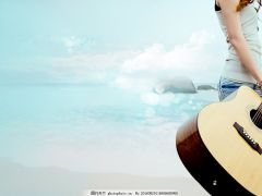 吉他照片图唯美图女生