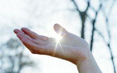 阳光透过手指唯美图片