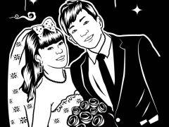 黑白爱情图片卡通