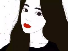 女生手绘动漫头像黑色