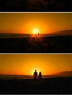 黄昏牵手浪漫图片唯美图片