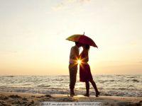 海滩夕阳爱情图片