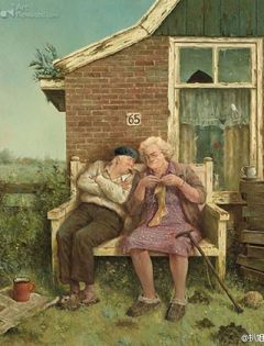 老夫妻卡通浪漫图片