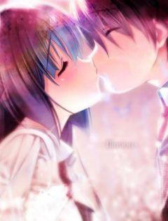 超浪漫动漫情侣亲吻图片
