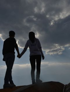 浪漫情侣头像背影图片