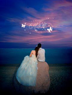 情侣海边浪漫背影图片