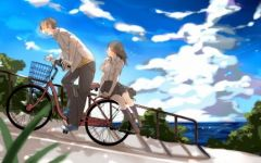 卡通浪漫骑车情侣图片
