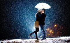 雪中浪漫情侣图片唯美