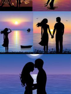 浪漫夕阳图片唯美情侣