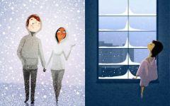 下雪两个人的图片浪漫
