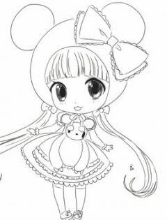 动漫图片女生可爱简笔