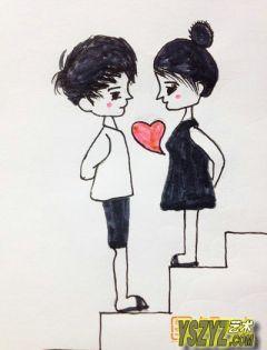 动漫情侣简笔图片