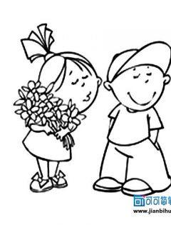 情侣卡通动漫图片简笔画手绘