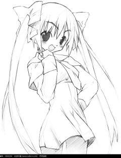 卡通人物简笔画美少女可爱
