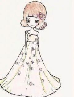 卡通人物简笔画美少女彩色