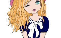 可爱少女简笔画彩色