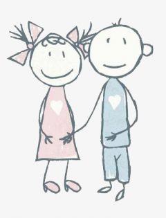 卡通情侣简笔画可爱