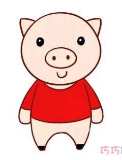 卡通小猪简笔画带颜色