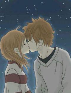 动漫简单情侣图片亲吻