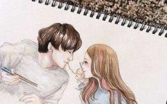 彩铅手绘男女情侣图片