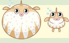 河豚生气卡通可爱图片