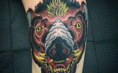 猪头纹身可爱图片简单