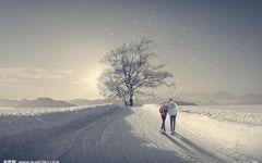 浪漫情侣雪景唯美图片
