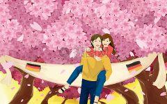 树下浪漫情侣动漫图片