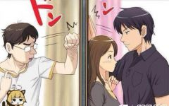 校园动漫图片情侣壁咚