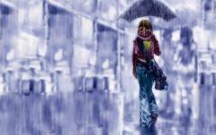 雨中漫步动漫图片情侣