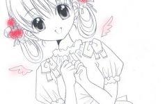 天使少女简笔画彩色