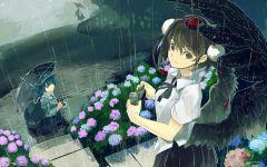 唯美男生动漫图片下雨