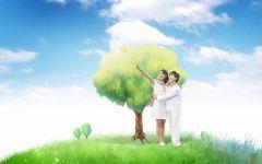 树下情侣拥吻动漫图片