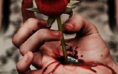 伤感玫瑰扎手带血图片