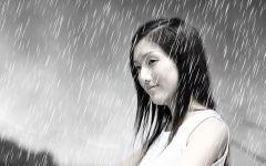 美女雨天伤感图片