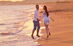 浪漫海边人物图片唯美